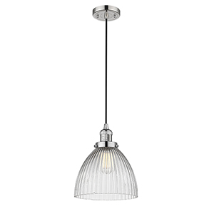 Seneca Falls Polished Nickel 10-Inch One-Light Mini Pendant with Clear Dome Glass