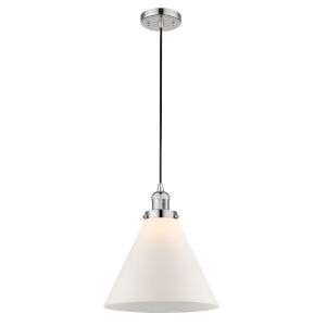 X-Large Cone Polished Nickel One-Light Pendant with Matte White Cased Glass