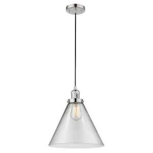 X-Large Cone Polished Nickel LED Pendant with Clear Glass