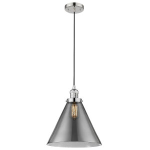 X-Large Cone Polished Nickel One-Light Pendant with Smoked Glass