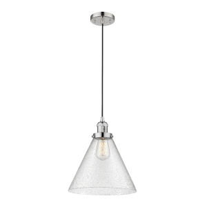 X-Large Cone Polished Nickel One-Light Pendant with Seedy Glass