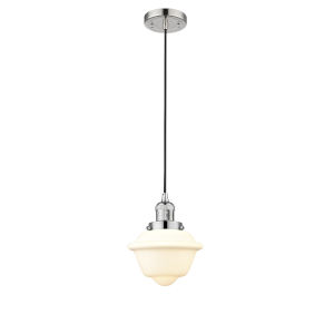 Small Oxford Polished Nickel 60W One-Light Mini Pendant with Matte White Cased Glass