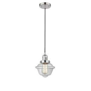 Small Oxford Polished Nickel One-Light Mini Pendant with Clear Glass