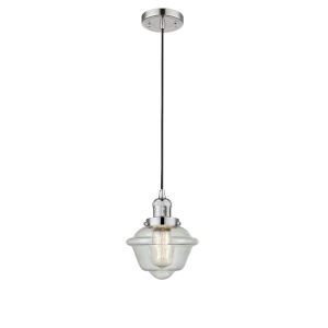 Small Oxford Polished Nickel LED Mini Pendant with Seedy Glass