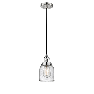 Small Bell Polished Nickel Five-Inch One-Light Mini Pendant with Seedy Bell Glass and Black Cord