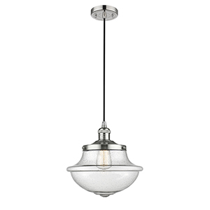 Oxford School House Polished Nickel 12-Inch One-Light Pendant with Seedy Bell Glass