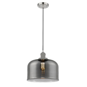 X-Large Bell Polished Nickel One-Light Pendant with Smoked Glass