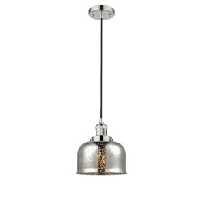 Large Bell Polished Nickel LED Mini Pendant with Silver Plated Mercury Glass
