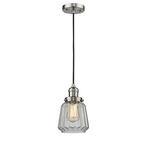 Chatham Brushed Satin Nickel Six-Inch One-Light Mini Pendant with Clear Fluted Novelty Glass and Black Cord