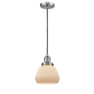 Fulton Brushed Satin Nickel Seven-Inch LED Mini Pendant with Matte White Cased Sphere Glass and Black Cord