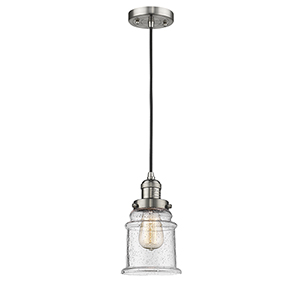 Canton Brushed Satin Nickel Six-Inch LED Mini Pendant with Seedy Bell Glass
