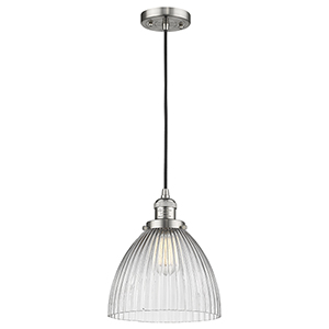 Seneca Falls Brushed Satin Nickel 10-Inch One-Light Mini Pendant with Clear Dome Glass