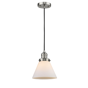 Large Cone Brushed Satin Nickel Eight-Inch One-Light Mini Pendant with Matte White Cased Cone Glass and Black Cord