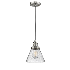 Large Cone Brushed Satin Nickel Eight-Inch LED Mini Pendant with Seedy Cone Glass and Black Cord