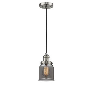Small Bell Brushed Satin Nickel Five-Inch LED Mini Pendant with Smoked Bell Glass and Black Cord