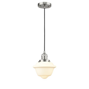 Small Oxford Brushed Satin Nickel 3.5W LED Mini Pendant with Matte White Cased Glass