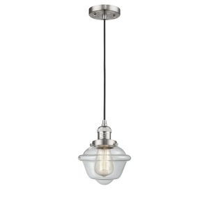 Small Oxford Brushed Satin Nickel One-Light Mini Pendant with Clear Glass