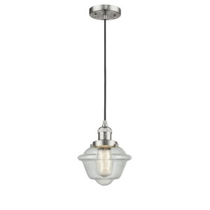 Small Oxford Brushed Satin Nickel One-Light Mini Pendant with Seedy Glass