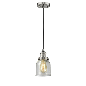 Small Bell Brushed Satin Nickel LED Mini Pendant with Seedy Bell Glass and Black Cord