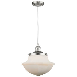 Franklin Restoration Brushed Satin Nickel 12-Inch LED Pendant with Matte White Cased Large Oxford Shade and Black Textured
