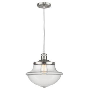 Franklin Restoration Brushed Satin Nickel 12-Inch LED Pendant with Clear Large Oxford Shade and Black Textured Cord
