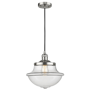 Oxford School House Brushed Satin Nickel 12-Inch One-Light Pendant with Clear Bell Glass