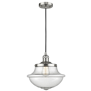 Oxford School House Brushed Satin Nickel 12-Inch LED Pendant with Seedy Bell Glass