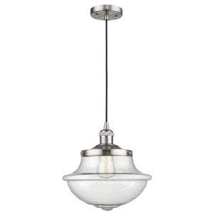 Franklin Restoration Brushed Satin Nickel 12-Inch LED Pendant with Seedy Large Oxford Shade and Black Textured Cord