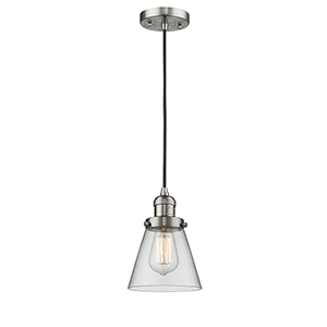 Small Cone Brushed Satin Nickel Six-Inch One-Light Mini Pendant with Clear Cone Glass and Black Cord