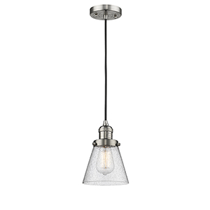 Small Cone Brushed Satin Nickel Six-Inch LED Mini Pendant with Seedy Cone Glass and Black Cord