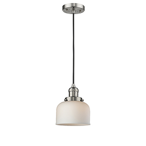 Large Bell Brushed Satin Nickel Eight-Inch One-Light Mini Pendant with Matte White Cased Dome Glass and Black Cord