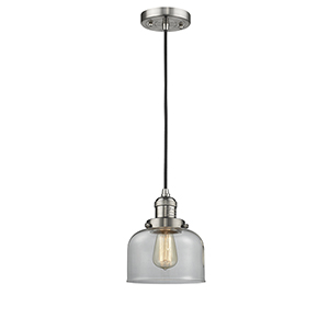 Large Bell Brushed Satin Nickel Eight-Inch One-Light Mini Pendant with Clear Dome Glass and Black Cord