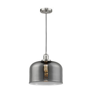 X-Large Bell Brushed Satin Nickel LED Pendant with Smoked Glass