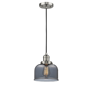 Large Bell Brushed Satin Nickel Eight-Inch LED Mini Pendant with Smoked Dome Glass and Black Cord