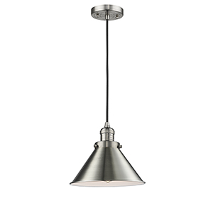 Briarcliff Brushed Satin Nickel 10-Inch One-Light Pendant with Black Cord