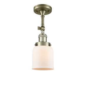 Small Bell Antique Brass One-Light Semi Flush Mount with Matte White Cased Glass