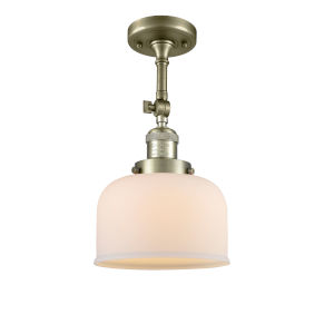 Large Bell Antique Brass One-Light Semi Flush Mount with Matte White Cased Glass