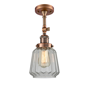 Chatham Antique Copper 16-Inch LED Semi Flush Mount with Clear Fluted Novelty Glass