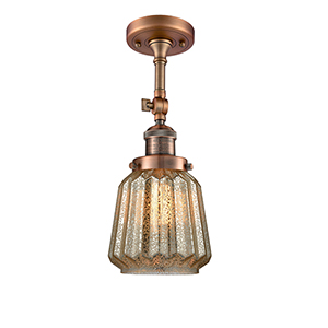 Chatham Antique Copper 16-Inch One-Light Semi Flush Mount with Mercury Fluted Novelty Glass