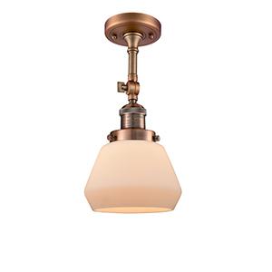 Fulton Antique Copper 13-Inch LED Semi Flush Mount with Matte White Cased Sphere Glass