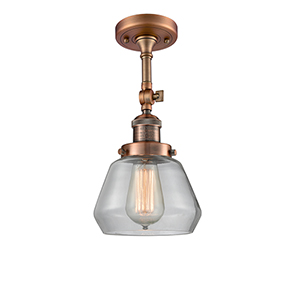 Fulton Antique Copper 13-Inch One-Light Semi Flush Mount with Clear Sphere Glass