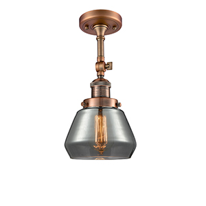 Fulton Antique Copper 13-Inch One-Light Semi Flush Mount with Smoked Sphere Glass