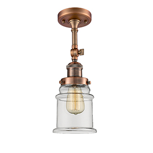 Canton Antique Copper 14-Inch LED Semi Flush Mount with Clear Bell Glass