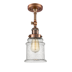 Canton Antique Copper 14-Inch LED Semi Flush Mount with Seedy Bell Glass
