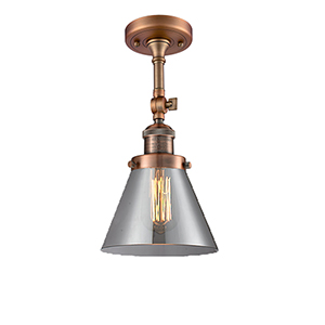 Large Cone Antique Copper LED Semi Flush Mount with Smoked Cone Glass