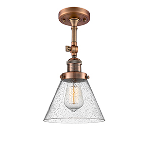Large Cone Antique Copper 14-Inch LED Semi Flush Mount with Seedy Cone Glass