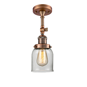 Small Bell Antique Copper 14-Inch One-Light Semi Flush Mount with Clear Bell Glass