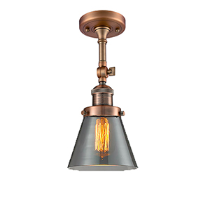 Small Cone Antique Copper Six-Inch LED Semi Flush Mount with Smoked Cone Glass