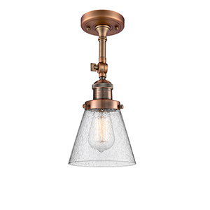 Small Cone Antique Copper Six-Inch One-Light Semi Flush Mount with Seedy Cone Glass