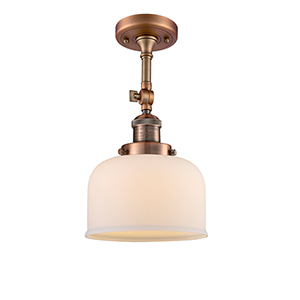 Large Bell Antique Copper 14-Inch One-Light Semi Flush Mount with Matte White Cased Dome Glass